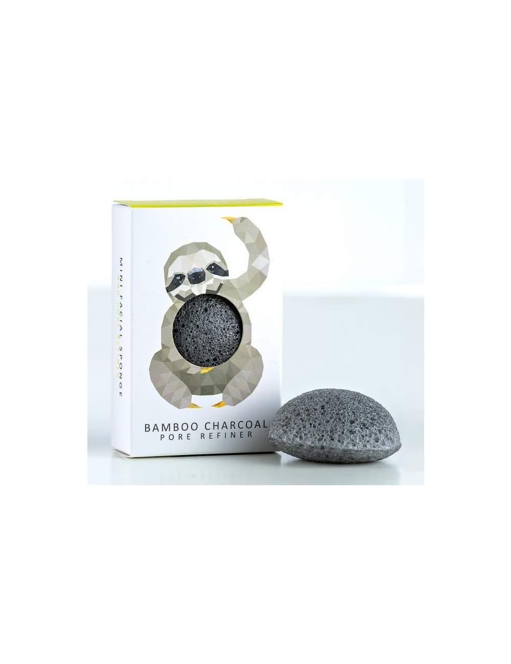 Esponja Konjac Facial Natural de Carbón de Bambú Mini. Rainforest Sloth. The Konjac Sponge
