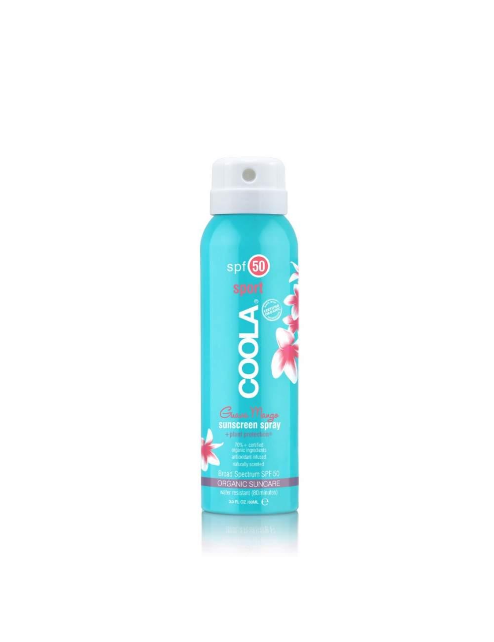 Crème de Protection Solaire Corporelle Organique SPF 50 en Spray Guava Mango. Sport Continuous. Coola.