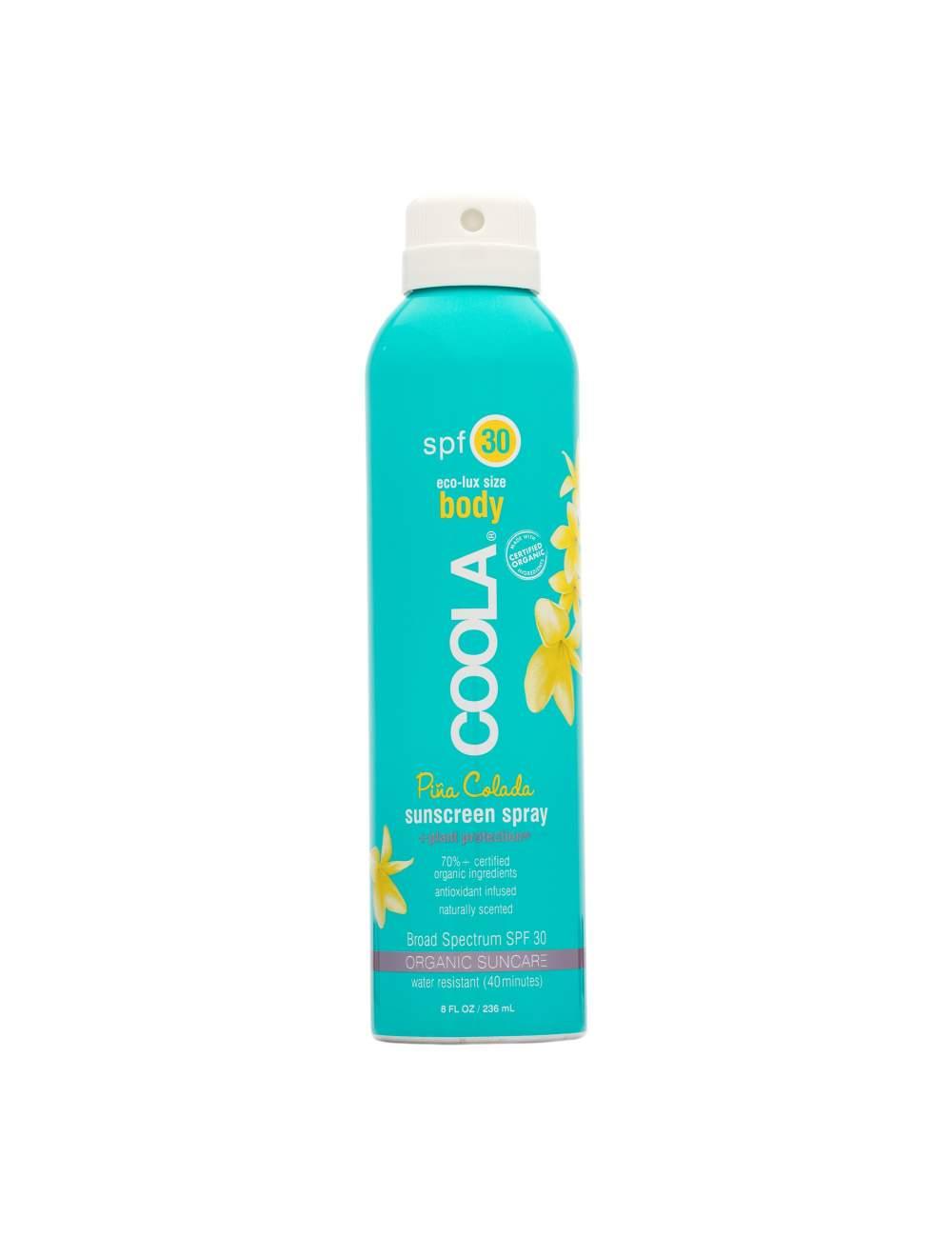 Crème de Protection Solaire Corporelle Organique SPF 30 en Spray Pina Colada. Sport Continuous. Coola.