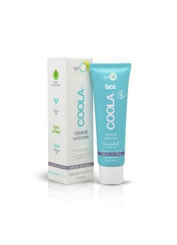 Crème de Protection Solaire Faciale Organique SPF 30 avec de la Couleur Inodore. Mineral. Coola.