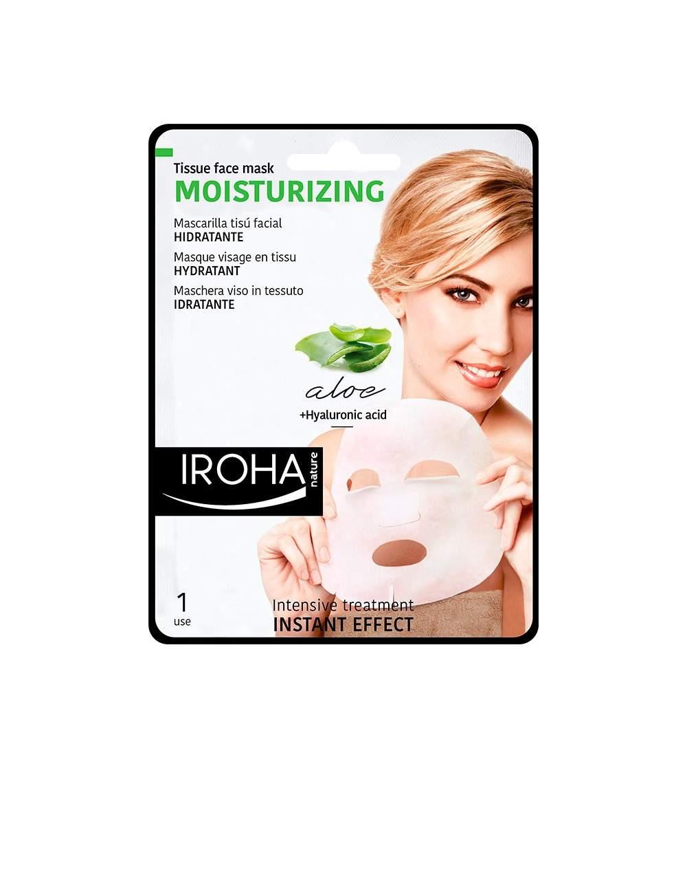 Masque Facial Hydratant au Aloès Vera Tissu. Iroha Nature.