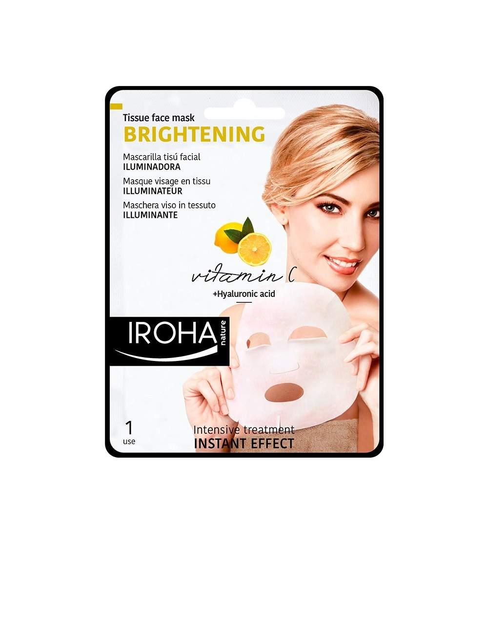 Masque Facial Naturel Illuminateur avec de la vitamine C Tissu. Iroha Nature.