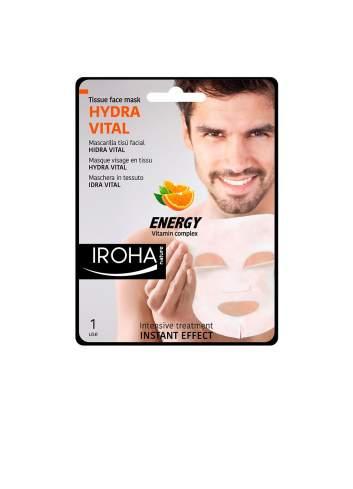 Masque Facial Naturel avec de la vitamine C pour des Hommes Tissu. Hidravital. Iroha Nature.