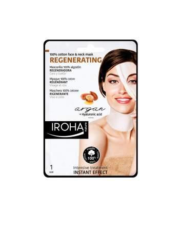 Masque Facial Naturel Régénératrice avec de l'Huile d'Argan. Tissu de Coton. Iroha Nature.